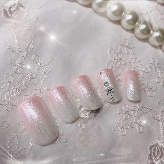 ネイルチップ13 ピンクグラデ スノー(つけ爪/ネイルチップ)