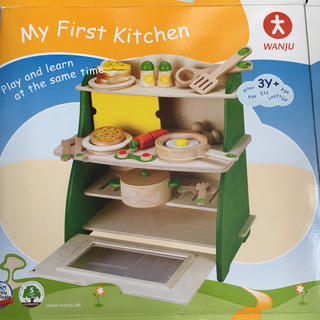 【良品】マイファーストキッチン ままごと 木製おもちゃ 知育玩具 約12000円(知育玩具)