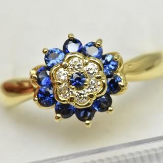 K18 ゴールド サファイア ダイヤモンドリング 11号 指輪  (リング(指輪))