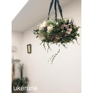 淡い風合い 秋色紫陽花とアナベルのアンティーク フライングリース ドライフラワー(ドライフラワー)
