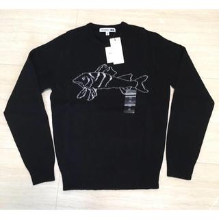 ユニクロ(UNIQLO)のUNIQLO*ラムジャカードクルーネックセーター*新品*ブラックXS*ラムウール(ニット/セーター)