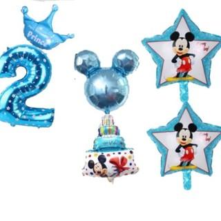 ミッキー誕生日風船☆2歳☆6点セット(キャラクターグッズ)