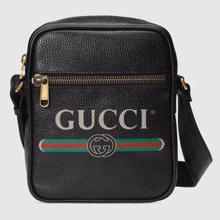 グッチ(Gucci)の Gucci グッチ プリントメッセンジャーバック ショルダーバッグ ブラック(ショルダーバッグ)