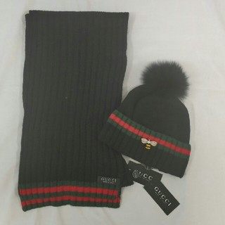 グッチ(Gucci)のGUCCI マフラー グッチ ニット帽子セット 新品(マフラー)