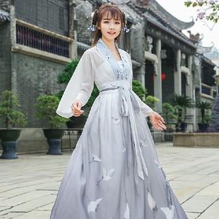 2点セット 刺繡シャツとロングスカート チャイナ風 美品(ロングドレス)