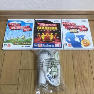 ウィー(Wii)の【任天堂 Wii】カラオケ JOYSOUND ソフト3本・マイクセット(家庭用ゲームソフト)
