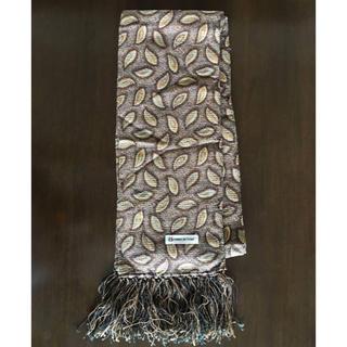 シルク ペイズリー柄 フリンジ ストール イタリア製 ブラウン 絹100%(ストール)