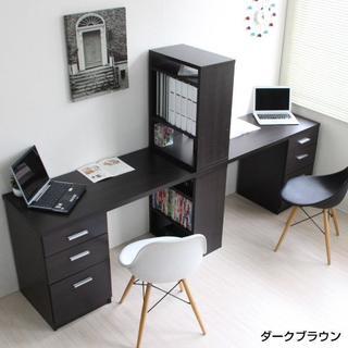 新品 学習机 ツインデスクセット 書棚付きラック 3段チェスト(学習机)