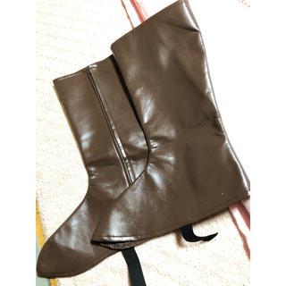 ブーツカバー 茶色 Lサイズ コスプレ(靴/ブーツ)