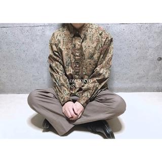 [used]brown antique art design shirt.(シャツ)