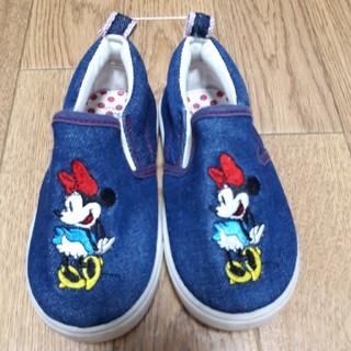ディズニー(Disney)のミニーちゃんデニムスリッポン 15.0(スリッポン)