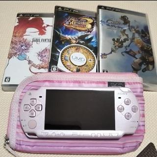 プレイステーションポータブル(PlayStation Portable)のPSP メタリックピンク set ※動作確認済※(携帯用ゲーム本体)
