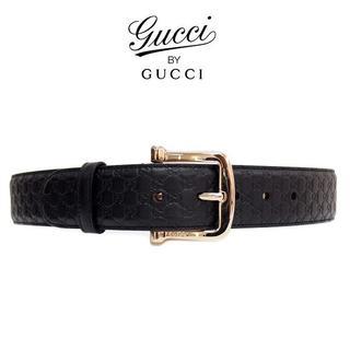 グッチ(Gucci)の20GUCCIマイクログッチシマブラックレザーベルト90(ベルト)