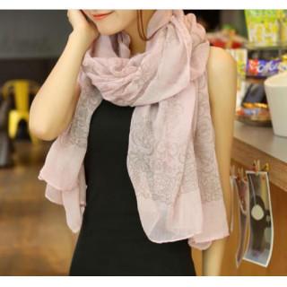 ピンク☆ふわふわ コットン 170×60 大判ショール ストール 天然繊維(マフラー/ショール)
