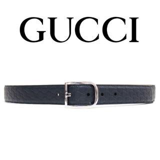 グッチ(Gucci)の21GUCCIネイビーマイクログッチシマレザーベルトsize90(ベルト)