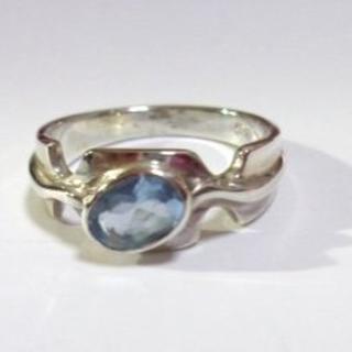 Y104 SIRVER925 天然石ブルートパーズリング15号 シンプル (リング(指輪))