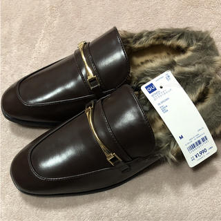 ジーユー(GU)の新品タグ付き ジーユー GU フェイクファーローファースリッパ M ブラウン(ローファー/革靴)