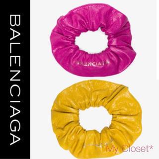 Balenciaga - バレンシアガ レザーシュシュ ピンク2018SS