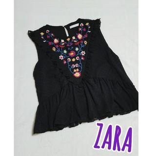 ザラ(ZARA)のZARAザラ*刺繍フリルドットノースリーブトップス(シャツ/ブラウス(半袖/袖なし))