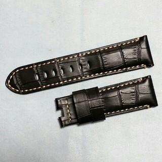 パネライ(PANERAI)のDバックル専用!クロコ型押し高級本革ベルト(レザーベルト)