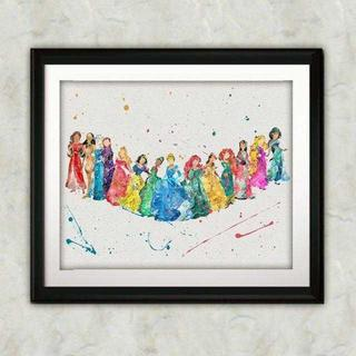 Disney - 日本未発売!ディズニープリンセス4・アートポスター【額縁つき・送料無料!】