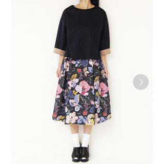 シンディー(SINDEE)のSINDEE フレアスカート 花柄 グレー(ひざ丈スカート)