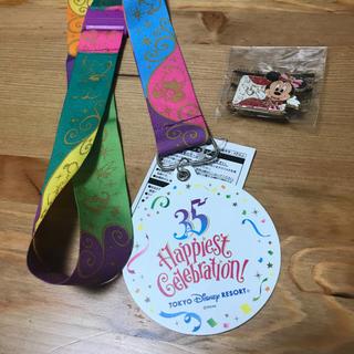 ディズニー(Disney)のディズニー35周年ハピエストサプライズメダル ミニーちゃんピンバッチ(遊園地/テーマパーク)