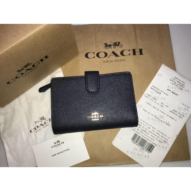 ab5a13d33d9f COACH(コーチ)の新品コーチ二つ折り財布ラグジュアリーミディアムコーナージップウォレットネイビー