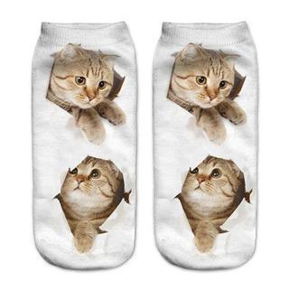 猫くつ下 猫ちゃんくつ下 レディースソックス 新品未使用品 送料無料♪(猫)