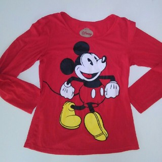 ディズニー(Disney)のディズニーミッキー赤のロンT 長袖オールドミッキー(Tシャツ(長袖/七分))