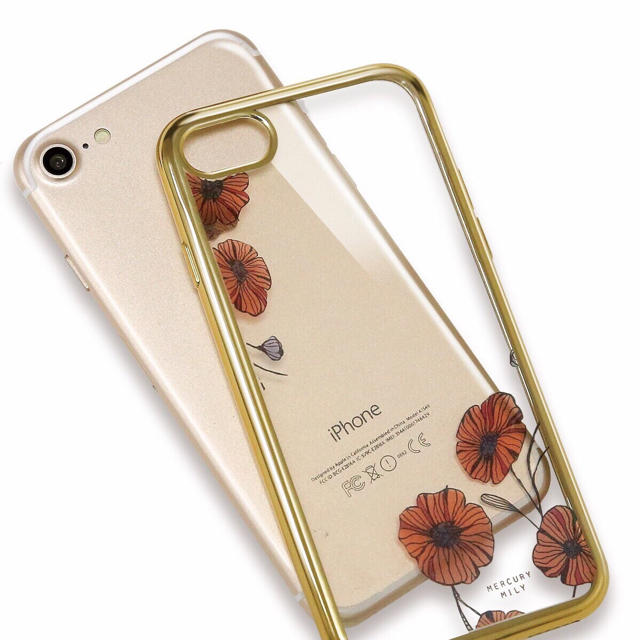 3ec455a8d4 iPhoneケース TPU 花柄 クリアケース カバー ソフトケース メタル 赤 スマホ/家電/