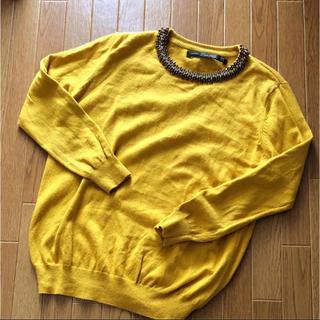ザラ(ZARA)のZARA ビジュー ネック ニット  マスタード 美品 S(ニット/セーター)