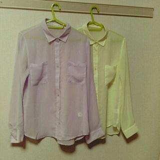 ジーユー(GU)のシースルーシャツ イエロー(シャツ/ブラウス(長袖/七分))