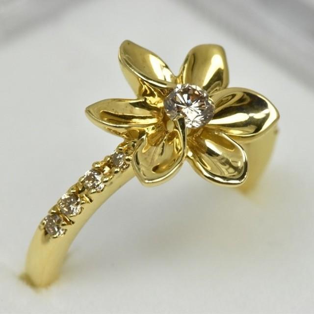 専用です ピンキー K18 ゴールド ダイヤモンドリング 2号 指輪   レディースのアクセサリー(リング(指輪))の商品写真