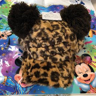 ディズニー(Disney)の新作♡ ミッキー 耳付き ぽんぽんキャップ ヒョウ柄 ディズニーリゾート(キャップ)