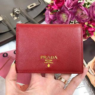 PRADA プラダ サフィアーノ 二つ折り財布 コンパクト ミニウォレット 赤