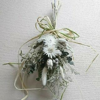 スワッグ  白×グリーン(ドライフラワー)