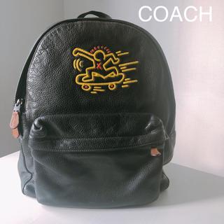 コーチ(COACH)の【限定】COACH コーチ×キース バッグパック リュック ブラックレザー(バッグパック/リュック)