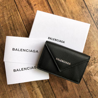 バレンシアガ(Balenciaga)の新品 バレンシアガコンパクト ペーパー ミニ 3つ折り財布 ブラック(財布)