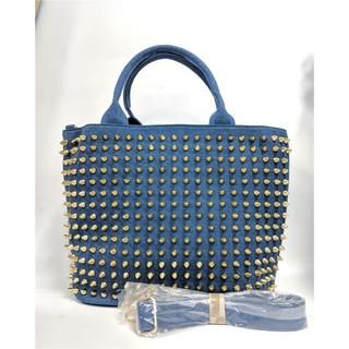 アクアブルー(Aqua blue)のトートバッグ×ゴールドスタッズ×レディースバッグ M 大容量(トートバッグ)