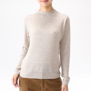 MUJI (無印良品) - 無印良品 ウールシルク洗えるワイドリブボトルネックセーター M オートミール