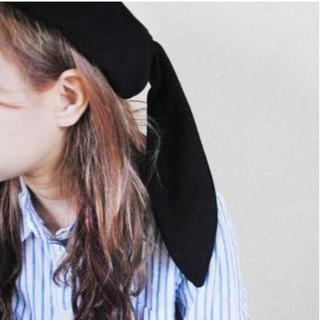大人気 うさ耳ベレー帽 【ブラック】(ハンチング/ベレー帽)