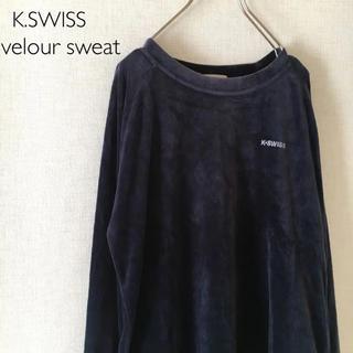 ケースイス(K-SWISS)の古着  ベロア  トレーナー  K.SWISS  ネイビー  ワンポイント(トレーナー/スウェット)
