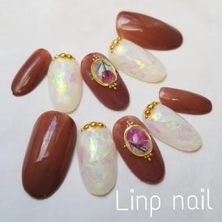オパール風天然石 ブローチネイルチップ
