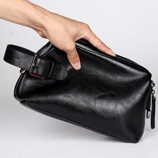 クラッチバック セカンドバッグ がま口 口金ファスナーで大きく開閉 大容量(セカンドバッグ/クラッチバッグ)