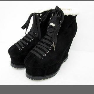 ダズリン(dazzlin)の未使用品 ダズリン ブーツ ショート ボア ウエッジソール M 黒(ブーティ)