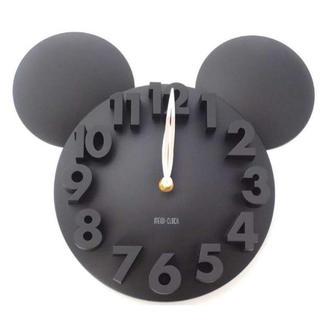 ☆かわいい♪ ミッキータイプ 3D 掛け時計 ブラック