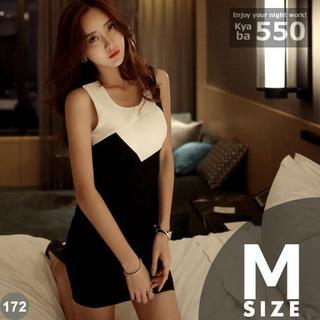 キャバドレス 172B 黒 ボディコン ミニ ドレス バイカラー S-M-L(ミニドレス)