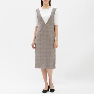 GU - 【GU 】グレンチェックジャンパードレス(ノースリーブ)WT