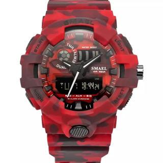 SMAEL  ミリタリースポーツウォッチ REDカモ(腕時計(デジタル))